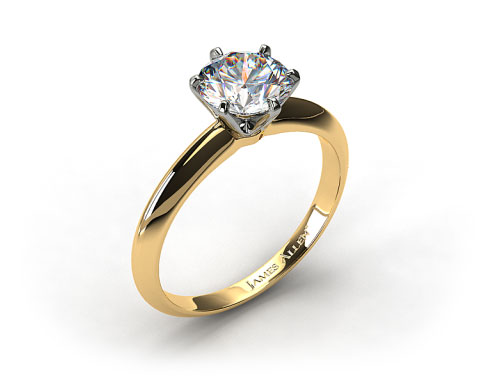 18k Yellow Gold Six Prong Knife Edged Solitaire Engagement Ring (Handmade)